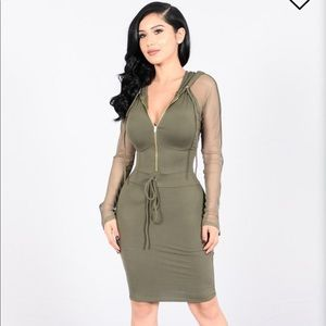 Olive Fitted Dress NWT